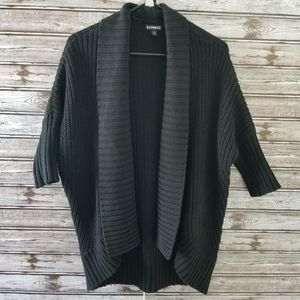 Express Black Chunky Knit Open Front Cardigan M